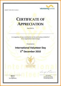 Volunteer Appreciation Certificate Template-Certification Of throughout Volunteer Of The Year Certificate Template