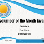 Volunteer Of The Month Certificate Template | Conie In 2019 Inside Volunteer Certificate Template