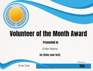 Volunteer Of The Month Certificate Template | Conie In 2019 Within Volunteer Award Certificate Template