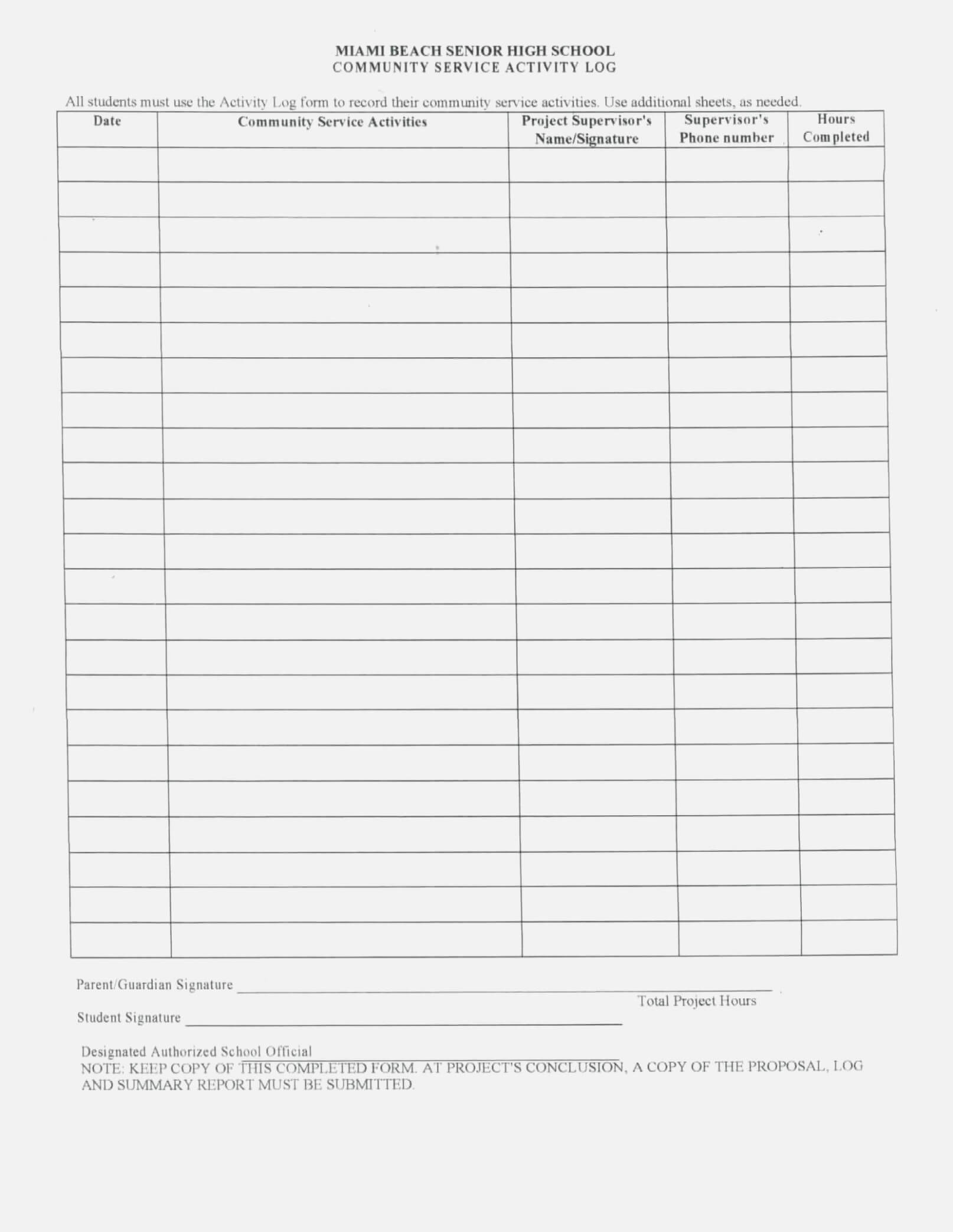 Volunteer Report Template Cool Hours Form Of Community Intended For Volunteer Report Template