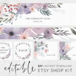 Watercolor Banner Template, Etsy Banners, Etsy Shop Banner, Branding Kit,  Botanical Logo, Editable Banner, Diy Etsy Shop Kit, Etsy Branding In Etsy Banner Template
