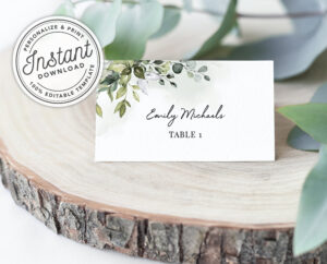 Watercolor Greenery Printable Wedding Place Cards W/ Eucalyptus Leaves  (Flat And Tent Folded) • Instant Download • Editable Template #027 intended for Michaels Place Card Template