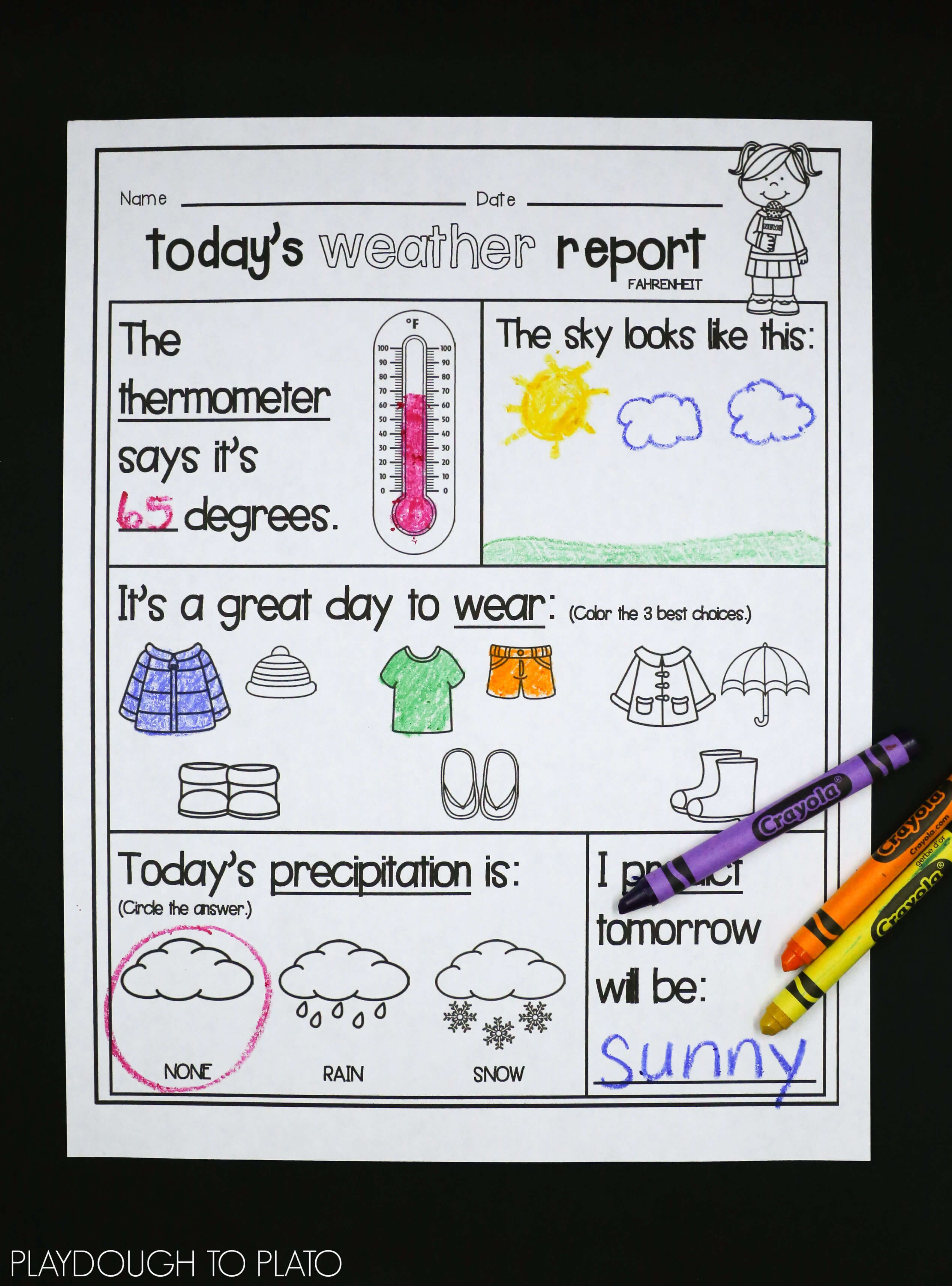 Weather Activity Pack | Science | Weather Kindergarten Intended For Kids Weather Report Template