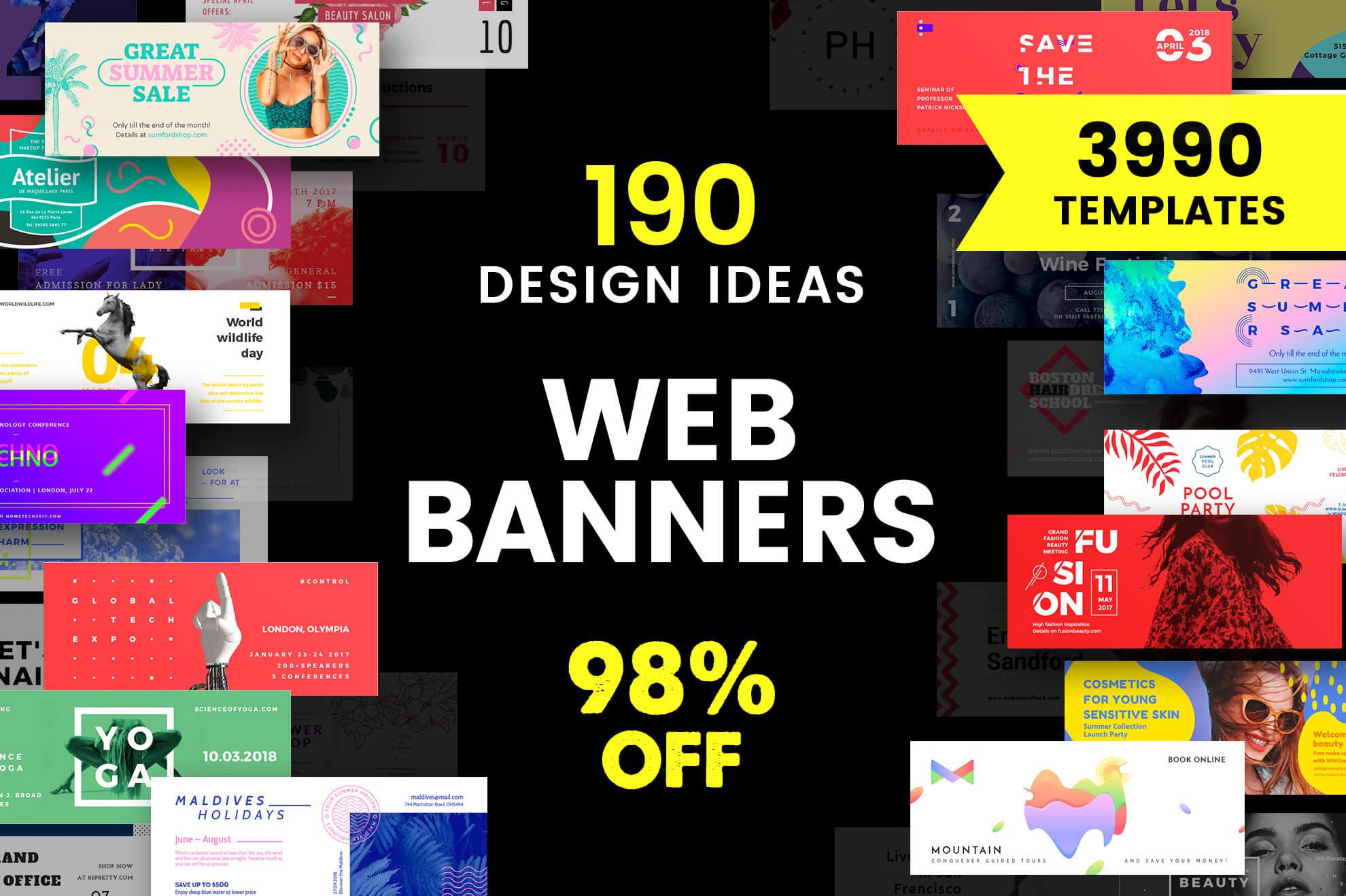 Web Banner Design Templates Bundle Sale Pertaining To Website Banner Design Templates