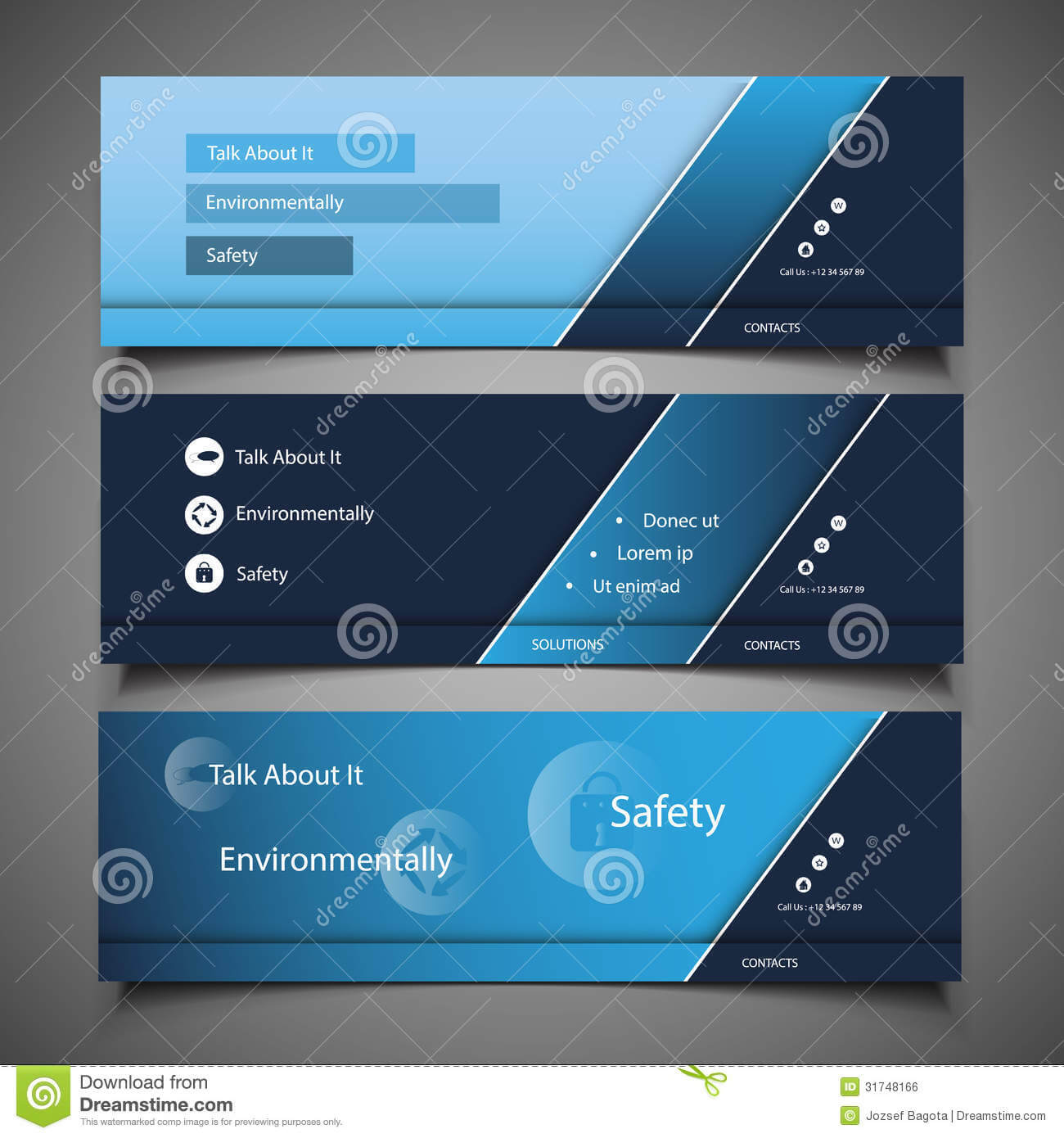 Web Design Elements - Header Designs Stock Vector Within Website Banner Templates Free Download