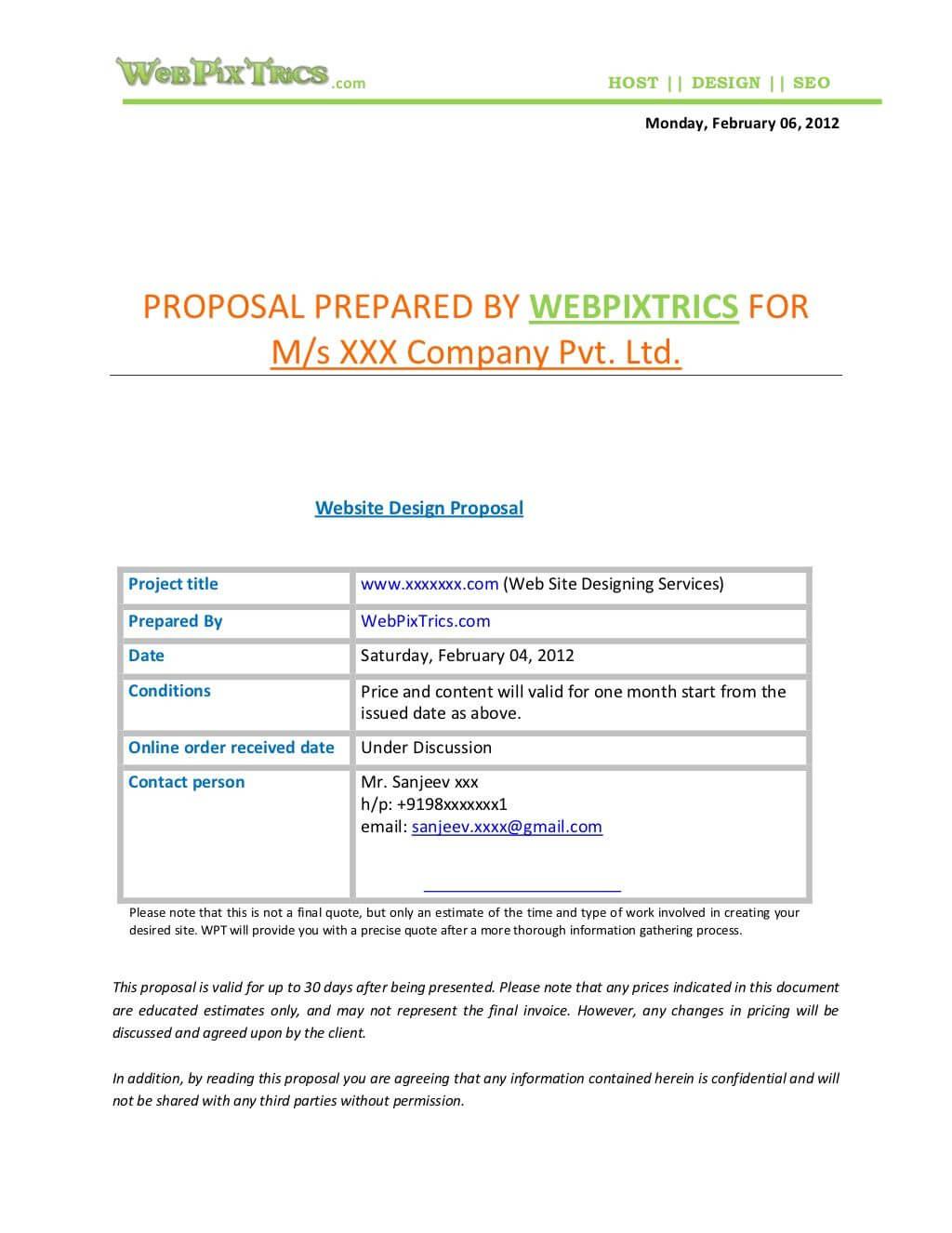 Web Design Proposal Samplewebpixtrics  Via With Regard To Web Design Quote Template Word
