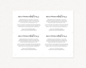 Wedding Accommodations Card Insert · Wedding Templates And Printables throughout Wedding Hotel Information Card Template