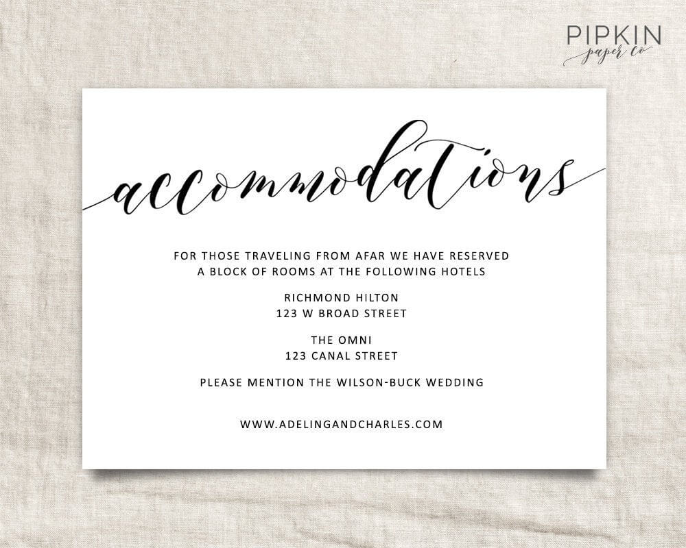 Wedding Accommodations Template | Printable Accommodations Card | Printable  Wedding | Wedding Information | Enclosure Card | Adeline Throughout Wedding Hotel Information Card Template