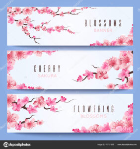 Wedding Banners Template With Spring Japan Sakura, Cherry for Wedding Banner Design Templates
