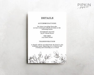 Wedding Details Template | Information Card Template | Wedding Details Card  Template | Wedding Information Card | Enclosure Cards | Claire with regard to Wedding Hotel Information Card Template