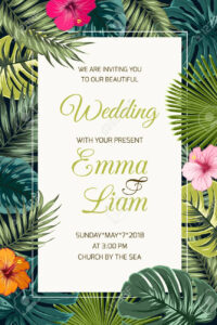 Wedding Event Invitation Card Template. Exotic Tropical Jungle,.. intended for Event Invitation Card Template