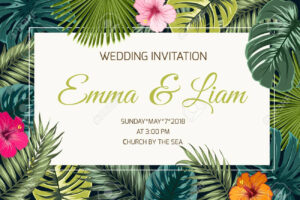 Wedding Event Invitation Card Template. Exotic Tropical Jungle.. throughout Event Invitation Card Template
