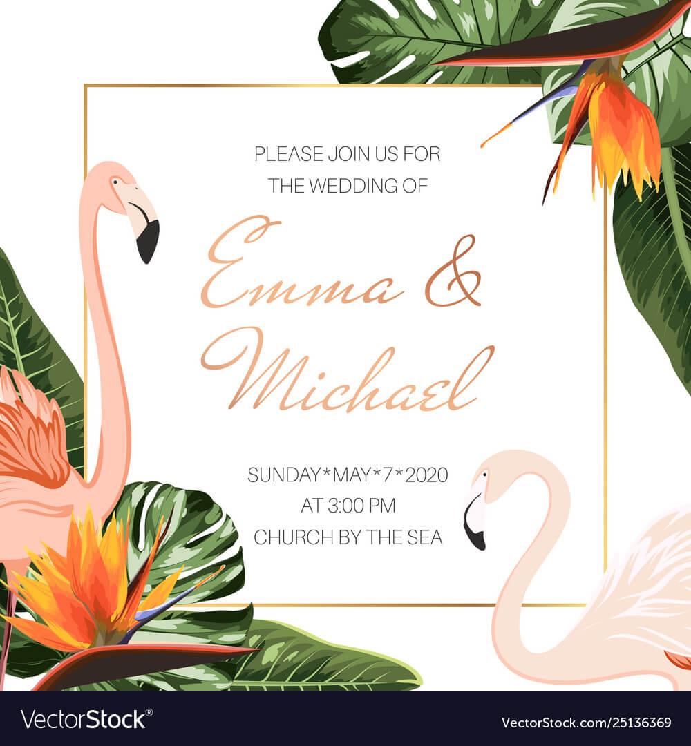Wedding Event Invitation Card Template Tropical With Event Invitation Card Template