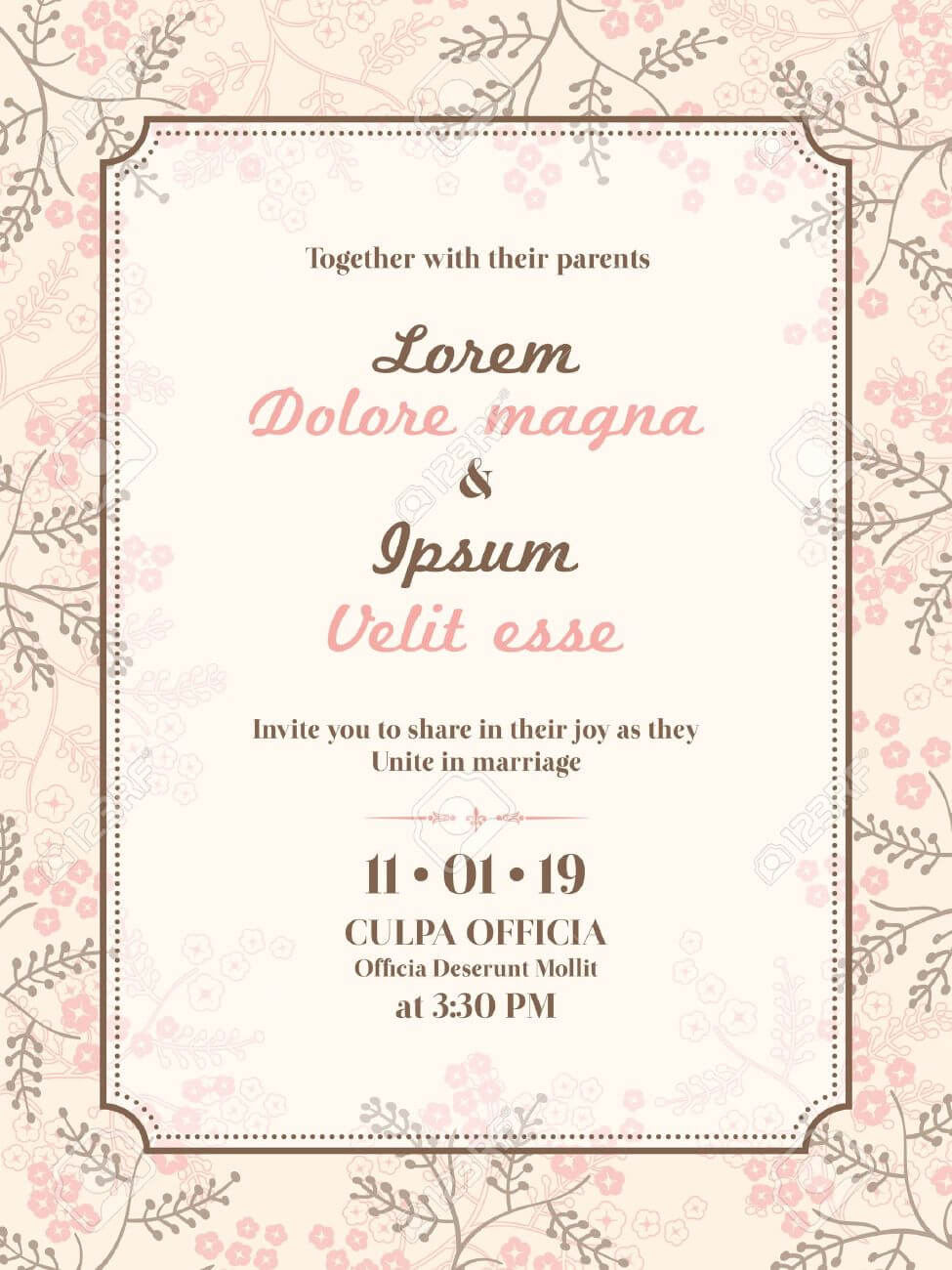 Wedding Invitation Card Template Pertaining To Invitation Cards Templates For Marriage