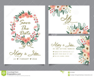 Wedding Invitation Card Template Stock Vector – Illustration Throughout Word Anniversary Card Template