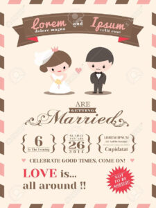 Wedding Invitation Card Template With Cute Groom And Bride Cartoon Pertaining To Invitation Cards Templates For Marriage
