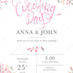 Wedding Invitation Card Template With Watercolor Rose For Sample Wedding Invitation Cards Templates