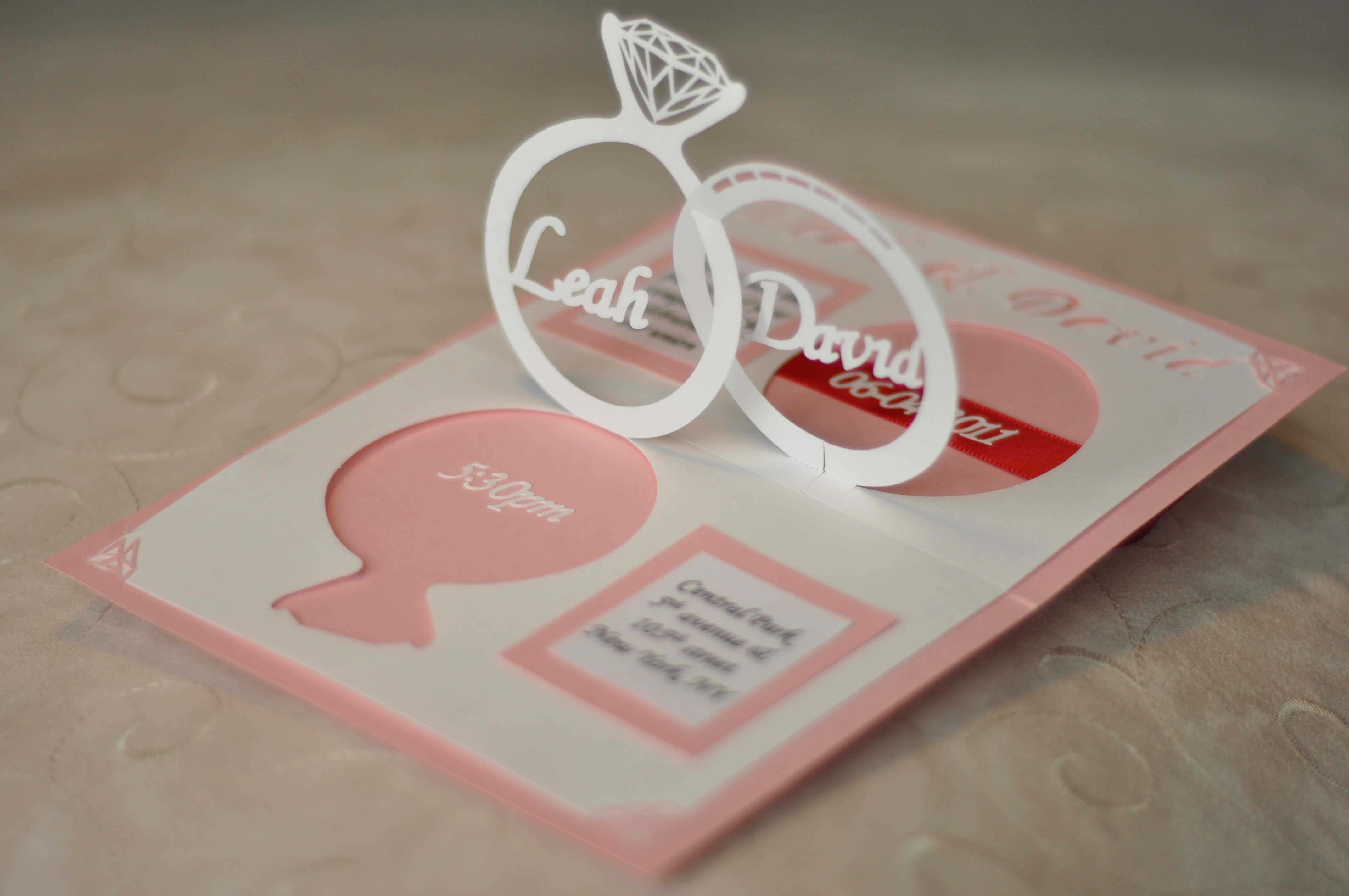 Wedding Invitation Linked Rings Pop Up Card Template Intended For Wedding Pop Up Card Template Free