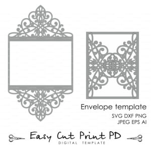Wedding Invitation Pattern Card Template Lace Folds (Studio Within Silhouette Cameo Card Templates