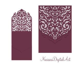 Wedding Invitation Pocket Envelope & Half-Fold Card. Svg for Half Fold Card Template