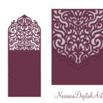 Wedding Invitation Pocket Envelope & Half Fold Card. Svg Pertaining To Silhouette Cameo Card Templates