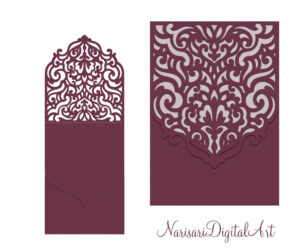 Wedding Invitation Pocket Envelope & Half Fold Card. Svg Pertaining To Silhouette Cameo Card Templates