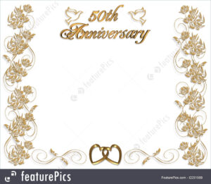 Wedding Invitation Template: 3D Illustrated Design For 50Th Wedding  Anniversary Card Or Invitation Border With Copy Space. within Template For Anniversary Card