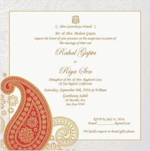 Wedding Invitation Wording For Hindu Wedding Ceremony pertaining to Sample Wedding Invitation Cards Templates