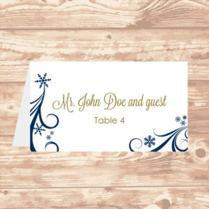 Wedding Place Card Diy Template Navy Swirling Snowflakes intended for Wedding Place Card Template Free Word