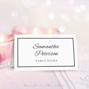 Wedding Place Card Template | Free Download | Hands In The Attic regarding Place Card Size Template