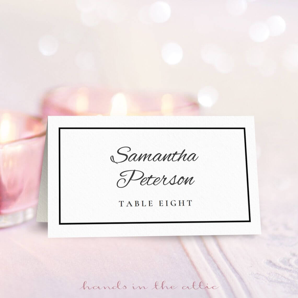 Wedding Place Card Template | Free On Handsintheattic In Free Place Card Templates Download