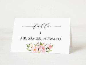 Wedding Place Cards Template, Printable Head Table Place Card, Elegant  Peony Printable, Floral Wedding Table Number Name, Download Pdf #104 With Regard To Table Place Card Template Free Download