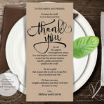 Wedding Place Setting Thank You Card, Instant Download Throughout Place Card Setting Template