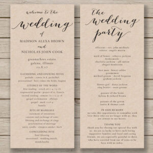 Wedding Program Template – Printable Wedding Program – Diy inside Free Printable Wedding Program Templates Word