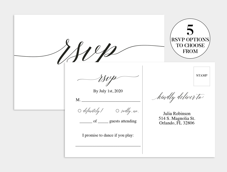 Wedding Rsvp Card | Wedding Rsvp Template | Wedding Rsvp For Template For Rsvp Cards For Wedding