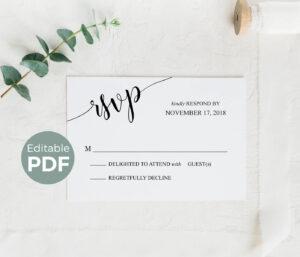 Wedding Rsvp Cards Template, Printable Rsvp Cards Rustic, Editable Wedding  Reply Cards, Diy Wedding Rsvp Reply Cards, Rsvp Insert Card Pdf with Template For Rsvp Cards For Wedding