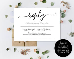 Wedding Rsvp Cards, Wedding Reply Attendance Acceptance Cards, Rsvp  Template Printable Editable Wedding Postcard Download Simple Rsvp Insert in Acceptance Card Template