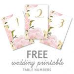 Wedding Table Numbers Template Free Printable Wedding Table Pertaining To Table Number Cards Template