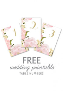 Wedding Table Numbers Template Free Printable Wedding Table pertaining to Table Number Cards Template