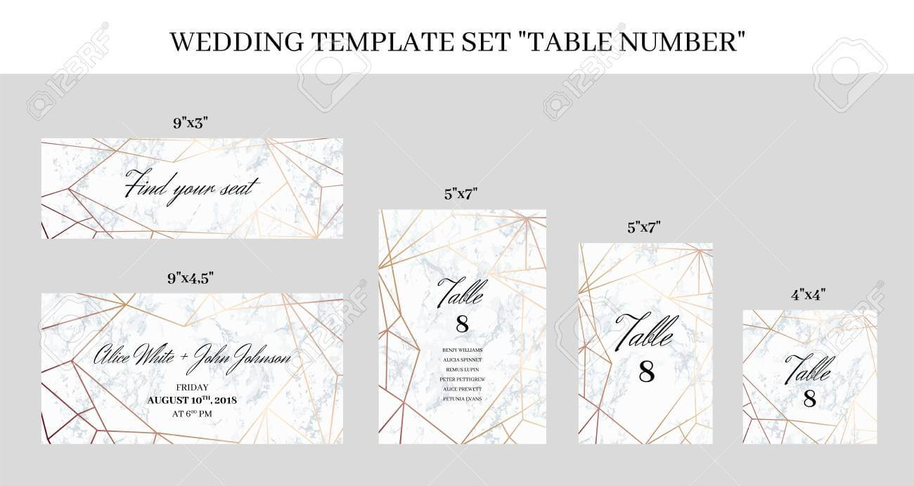 Wedding Template Set Table Number Cards. White Marble Background.. regarding Table Number Cards Template
