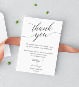 Wedding Thank You Notes Template Thank You Note Cards For Wedding Table  Fall Wedding Elegant Thank You Cards Templett Instant Download #55Fd intended for Thank You Note Card Template