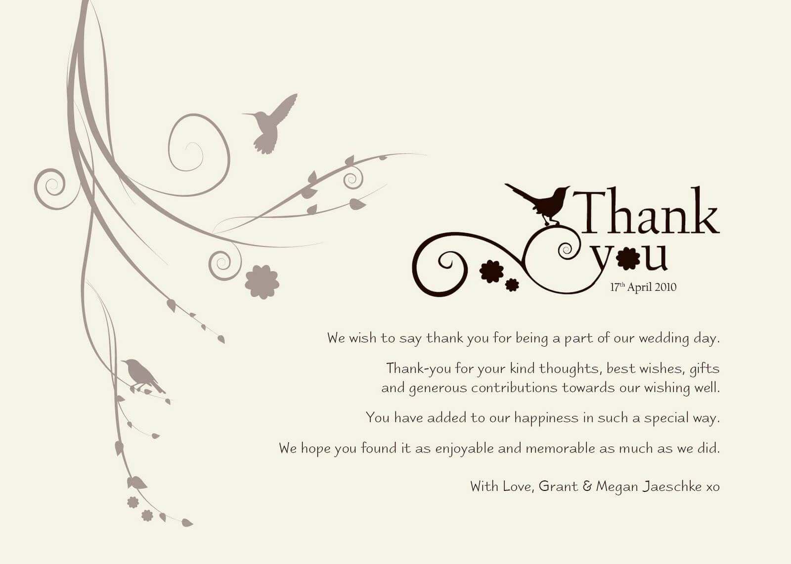 Wedding Thank You Templates Free | Standard Greeting Card Pertaining To Template For Wedding Thank You Cards