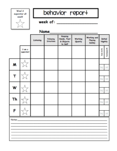 Weekly Behavior Report Template.pdf – Google Drive throughout Preschool Weekly Report Template