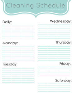 Weekly Cleaning Schedule: Improve Your Cleaning Habits for Blank Cleaning Schedule Template