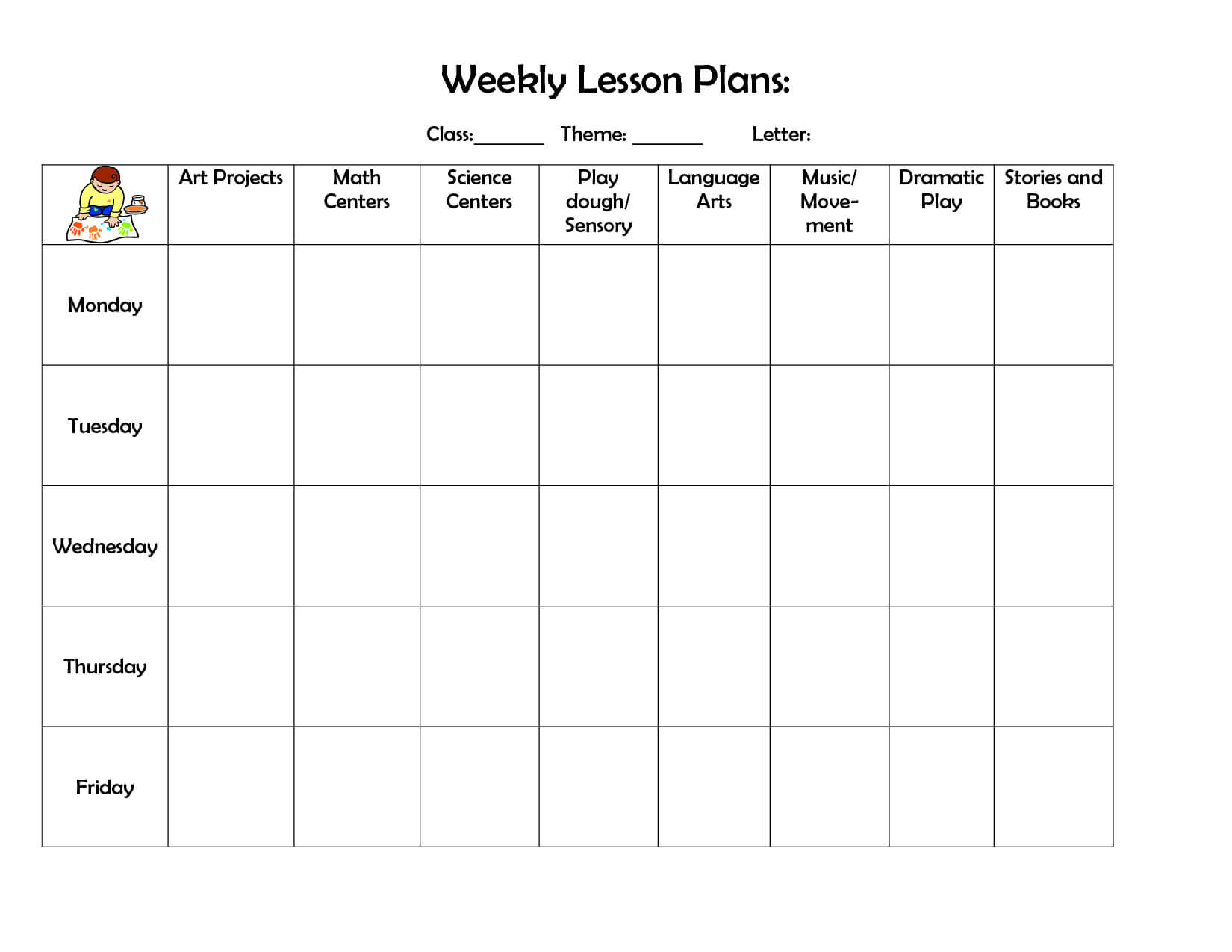 Weekly Lesson Plan | Lesson Plan Template | Preschool Lesson Regarding Blank Preschool Lesson Plan Template
