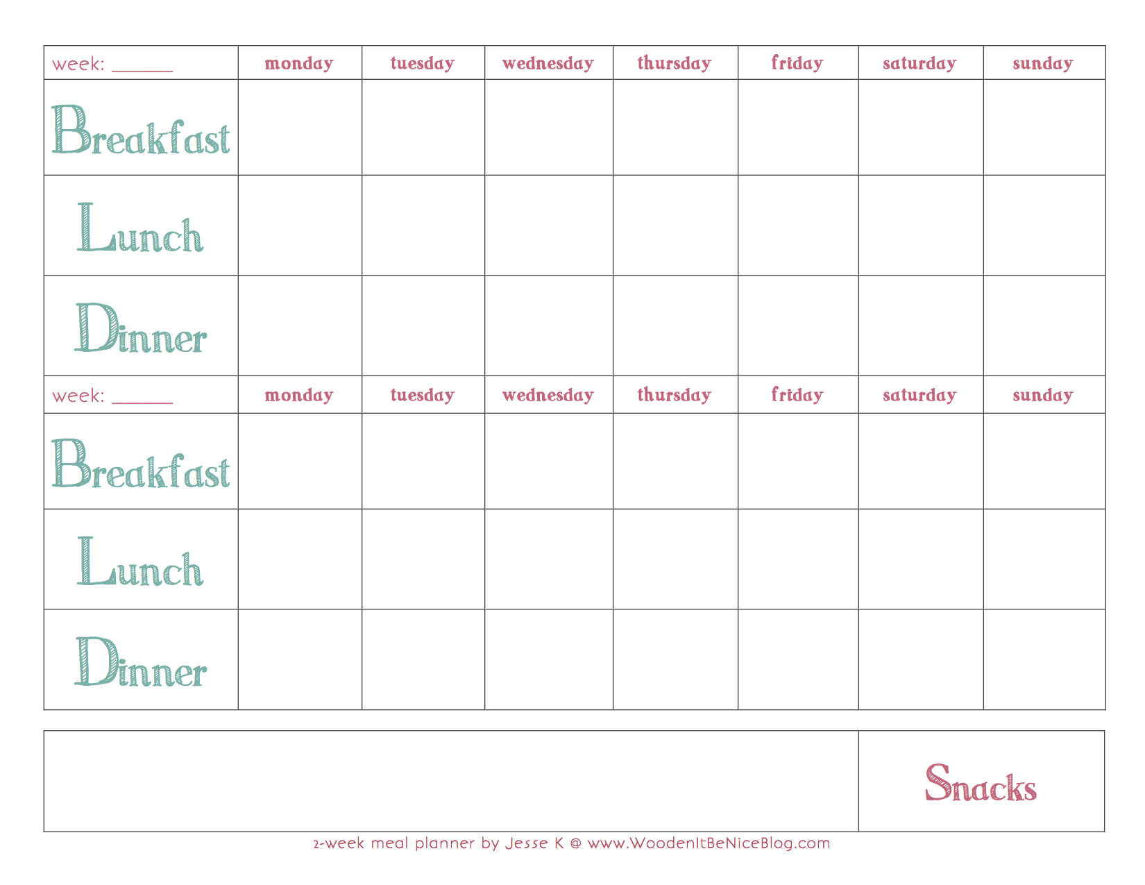 Weekly Meal Plan Template | Recipes In 2019 | Meal Planning With Regard To Weekly Meal Planner Template Word