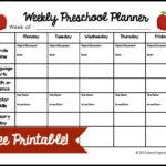 Weekly Preschool Planner {Free Printable} For Blank Preschool Lesson Plan Template