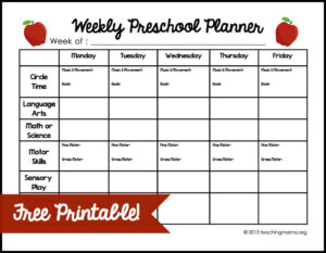 Weekly Preschool Planner {Free Printable} for Blank Preschool Lesson Plan Template