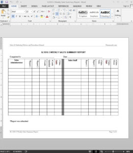 Weekly Sales Summary Report Template | Sl1010-3 in Test Summary Report Template