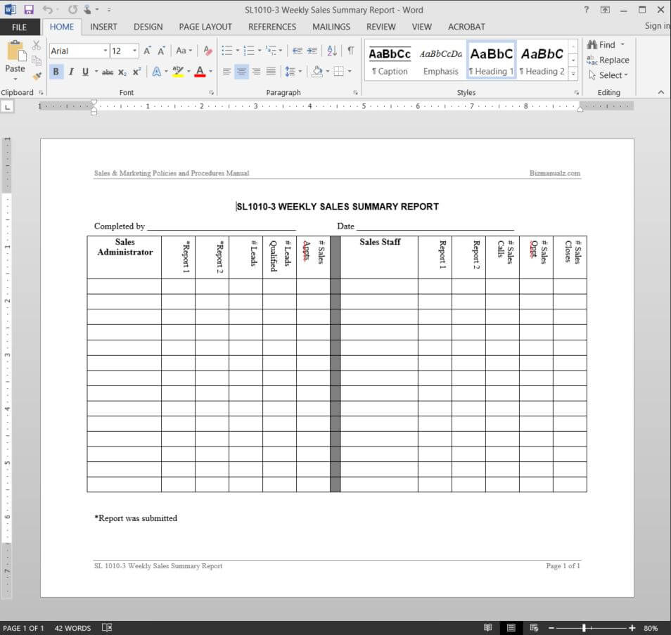 Weekly Sales Summary Report Template   Sl1010 3 Pertaining To Sales Representative Report Template